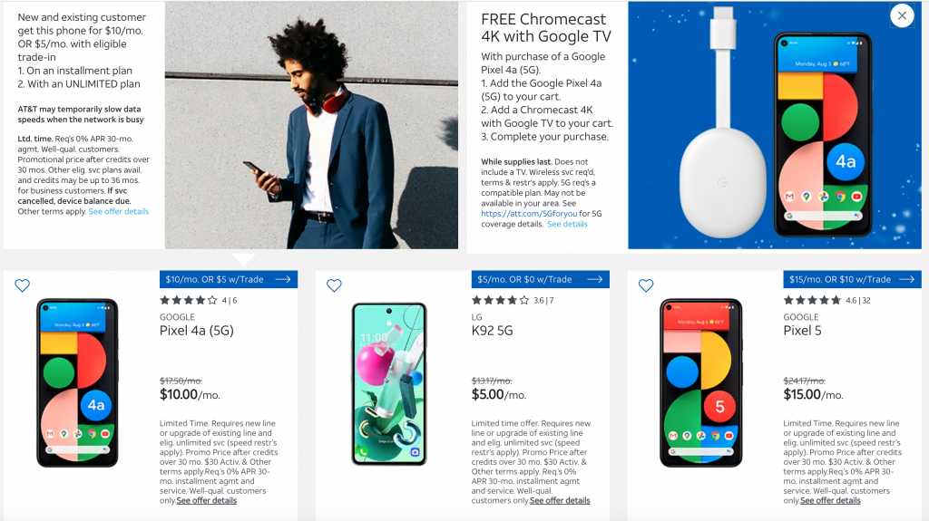 Free Google Chromecast with Google Pixel 4a (5G)
